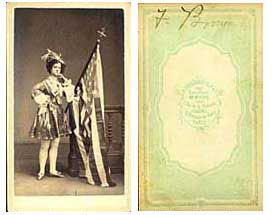 th century actors and theater photographs  fanny brown in costume american flag