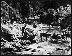 Men and horses crossing Promise Creek