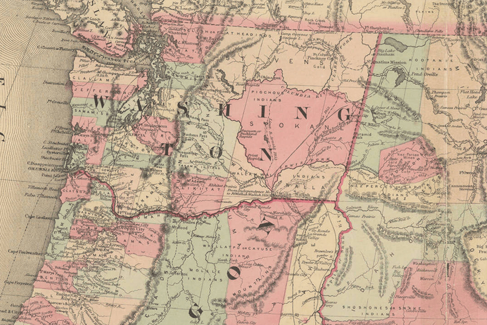 Colton's map of Oregon, Washington, Idaho and British Columbia (1860)