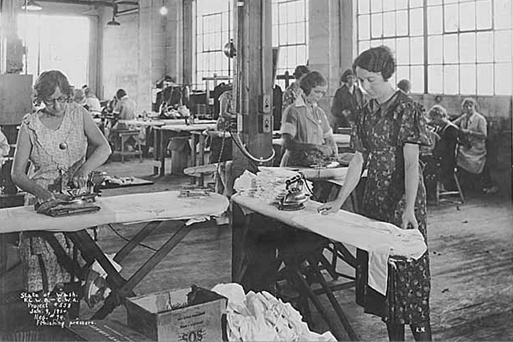 Sewing Center interior showing seamstresses pressing clothes, Seattle, January 9, 1934