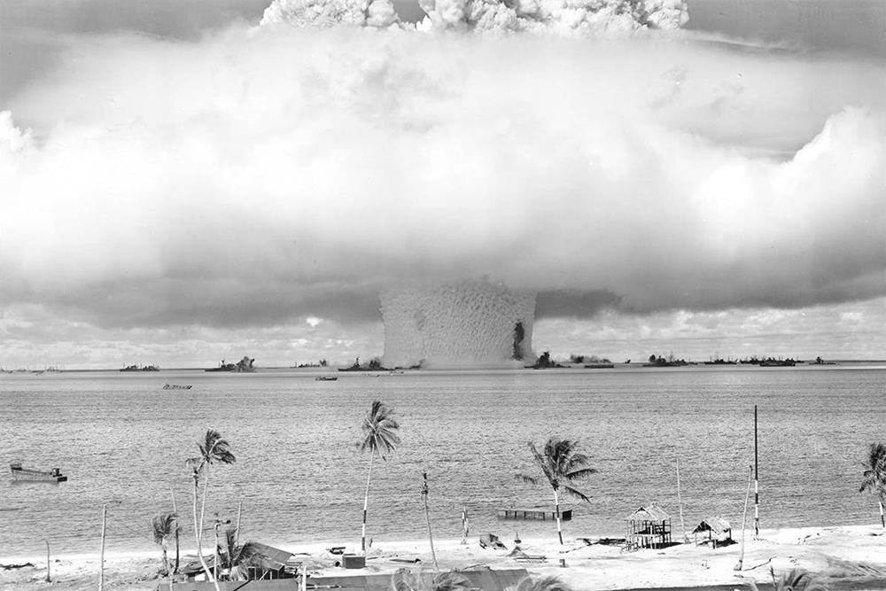 Operation Crossroads, Test Baker as seen from Bikini Atoll, July 25, 1946