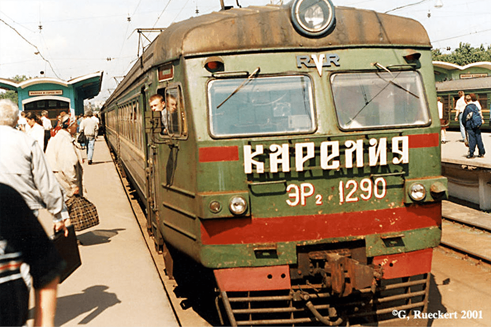 Karelia, an electric commuter train bound for the northern suburbs, at the Finland Station in Saint Petersburg