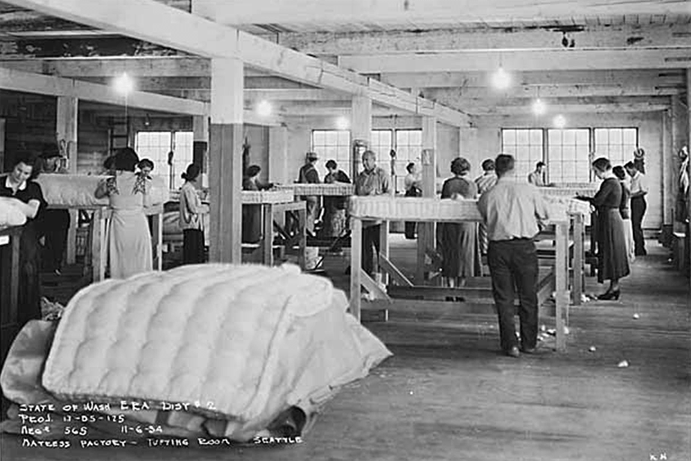 Mattress factory tufting room interior, Seattle, November 6, 1934