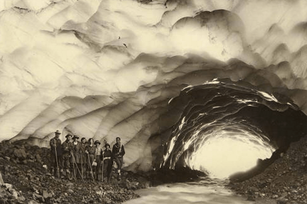 Hikers in an Ice Cave, ca. 1925