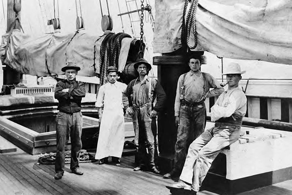 Crew members on deck of four-masted schooner WINSLOW, Washington, ca. 1900