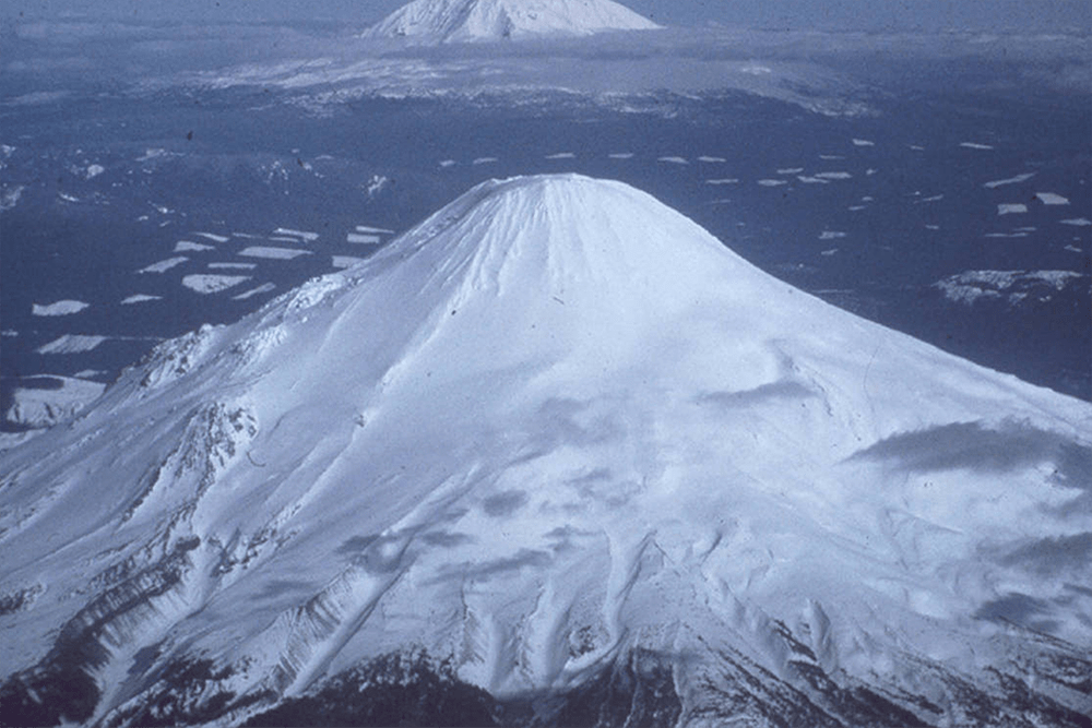 Aerial view of Mount St. Helens from the west (1976)