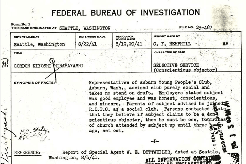 FBI Character Reference 25-467 on Gordon Hirabayashi regarding his status as a conscientious objector, August 22, 1941