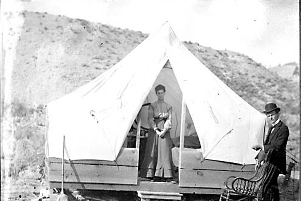 009 Campers at Lake Chelan, and, view of town of Chelan, 1903