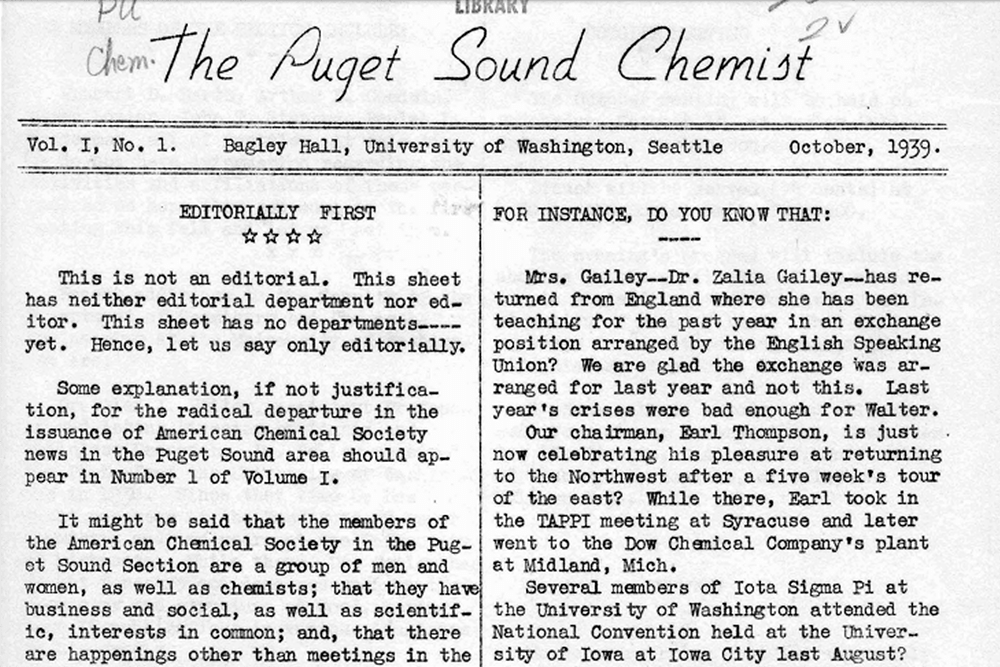 Puget Sound Chemist, Vol I, No 1, October 1939