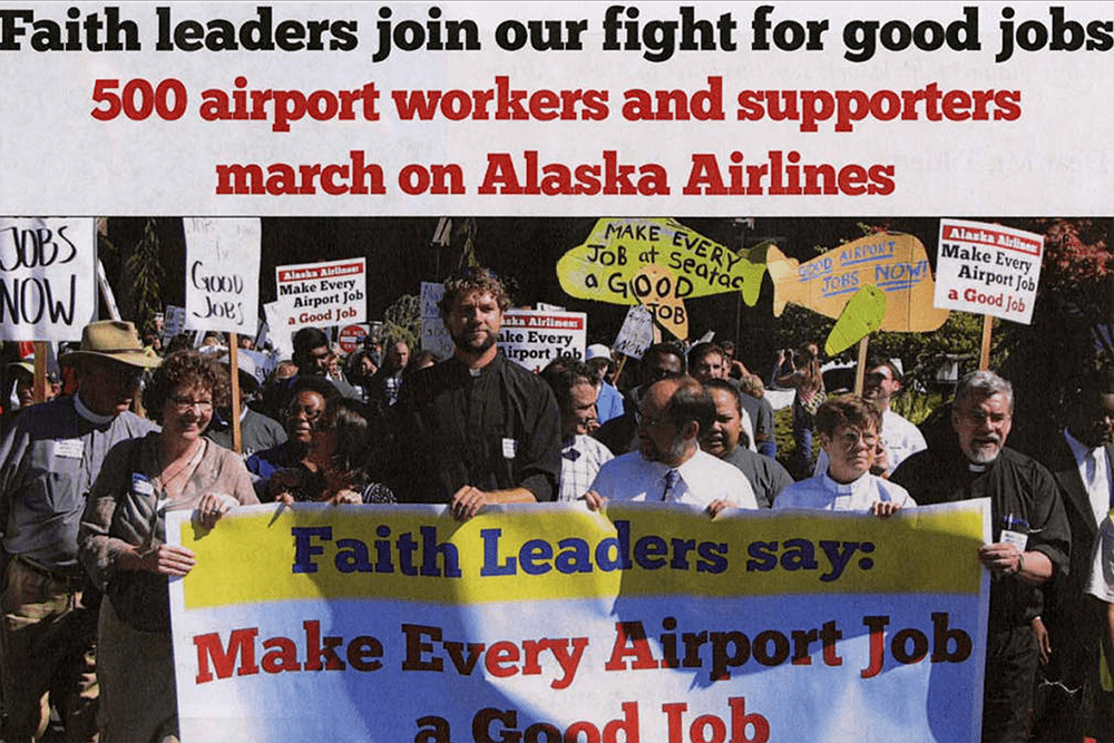 Airport workers gain the support of faith leaders in their campaign to make every airport job a good job flier, September 7, 2012