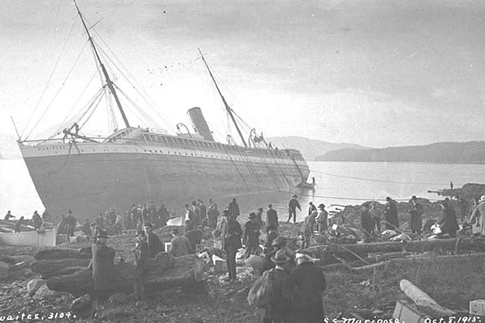 Passengers on shore beside wreck of steamer MARIPOSA, Fitz Hugh Sound, British Columbia, October 8, 1915