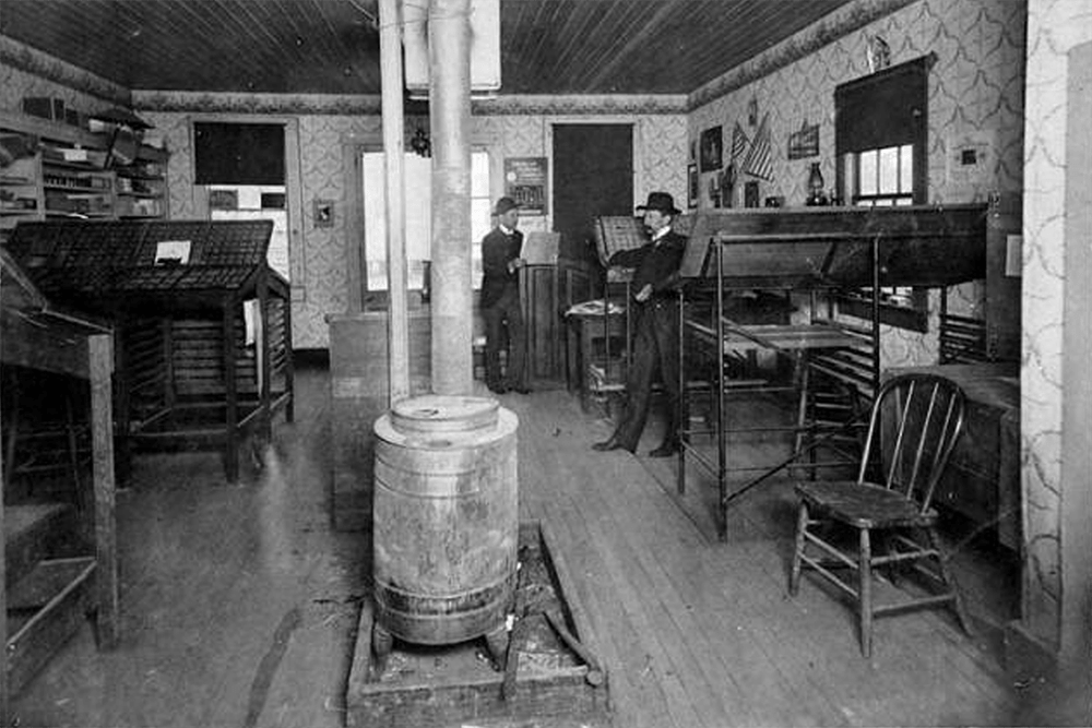 Interior of Island County Times office, Coupeville, 1903