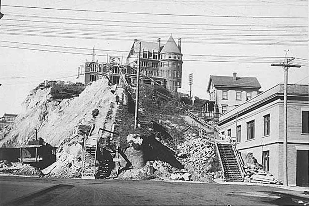 Washington Hotel demolition during the Denny Hill regrade, Seattle, ca. 1907