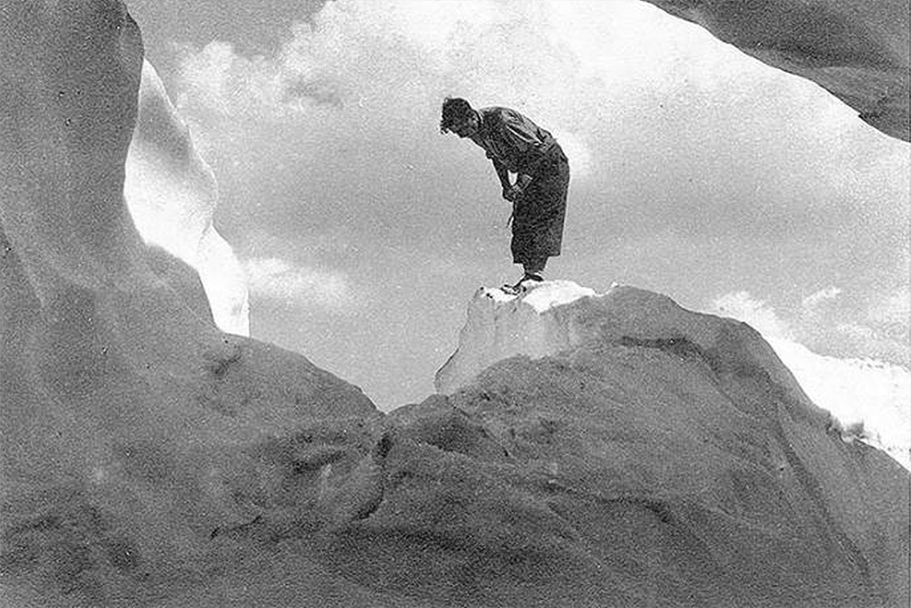 Hiker on an ice crevasse in Lyman Lakes country, n.d.