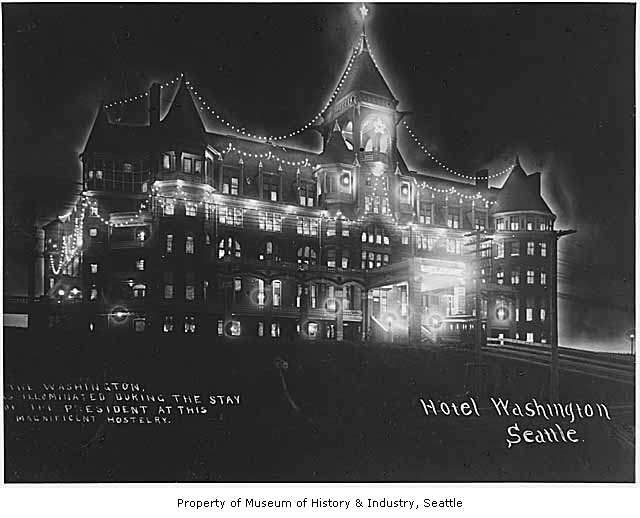 Hotel Washington in Seattle decorated for the visit